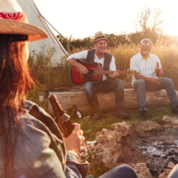 SEREN BELL TENT RELAXED GUITAR AND BEERS ROUND FIRE